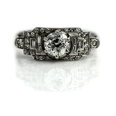 Art Deco Engagement Ring Antique Engagement Ring Old 1.35ctw European... ($5,000) ❤ liked on Polyvore featuring jewelry, rings, antique rings, diamond engagement rings, antique filigree rings, filigree diamond ring and platinum wedding rings