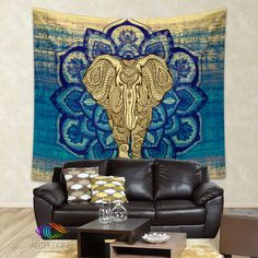 Elephant Tapestry, Lotus Mandala wall tapestry, Hippie tapestry wall hanging, bohemian wall tapestries, Boho elephant bedspread