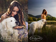 pet and owner photography. a girl and her dog. great Pyrenees