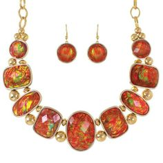 Stunning Iridescent Cherry Red Orange Green Amber Opalescent Vitrail Oval Rectangular Shaped Luminous Gems Opal Fire Abalone Gold Tone Collar Statement Necklace & Earring Set Fashion Jewelry Unbranded-Free Shipping,http://www.amazon.com/dp/B00EZZJZSE/ref=cm_sw_r_pi_dp_PtE0sb1PH3H8QGTS