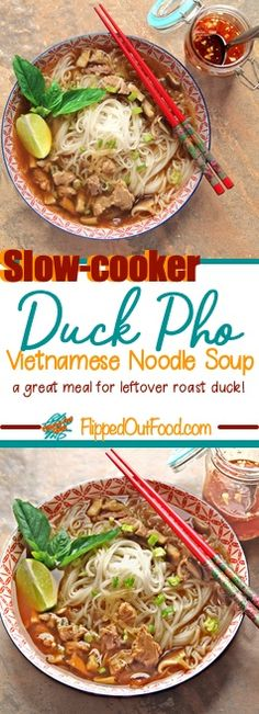 Slow-Cooker Duck Pho features delicious, rich, broth accented by bright, fresh herbs. This spin on a classic Vietnamese noodle soup is a great use of leftover roast duck. Slow Cooker Duck, Slow Cooker Recipes, Meat Recipes, Crockpot Recipes, Chili Recipes, Drink Recipes, Leftover Duck Recipes, Leftovers Recipes, Super Healthy Recipes