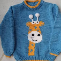 Child's sweater hand knitted boy pattern giraffe years Childs sweater pattern giraffe handmade from 2 years to 6 years in my shop knitted polyamide acrylic worsted wool machine washable 30 ° C Creative model Baby Boy Knitting Patterns, Baby Cardigan Knitting Pattern, Knitting For Kids, Knitting Designs, Baby Patterns, Hand Knitting, Pull Bebe, Knit Baby Sweaters, Giraffe Pattern