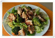 Ensalada con germinado, brócoli y pollo. madeleinecocina