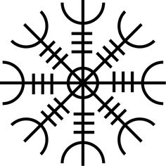 """~The Helm of Awe~  Probably the most well known of the Icelandic staves, the Helm of Awe, named """"ægishjálmr"""" is said to make one irresistible to your foes; meaning that they are powerless against you.   This symbol also gives the wearer countenance of terror, i.e. makes the wearer courageous, and helps you overcome people with over-bearing natures. It's a popular symbol to be used on a talisman or even a tattoo."""