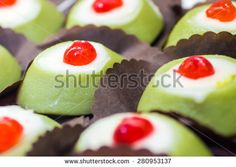 some little #Cassata siciliana, a traditional #sweet from #Palermo, #Sicily, #Italy - stock photo
