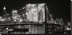 Brooklyn Bridge at Night Stretched Canvas Print at AllPosters.com