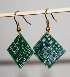 Unique, hand-crafted earrings made from recycled computer chips.