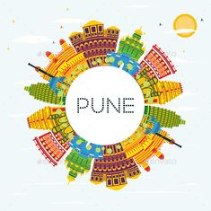 Illustration of Pune India Skyline with Color Buildings, Blue Sky and Copy Space. Business Travel and Tourism Concept with Historic Buildings. Pune Cityscape with Landmarks. vector art, clipart and stock vectors.