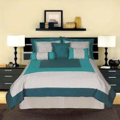 Artistic Linen Alpine Faux Silk Reversible 7-Piece Comforter Set, Queen, Teal