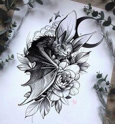 Tattoo Design Drawings, Tattoo Sketches, Tattoo Designs, Witch Tattoo, Raven Tattoo, Body Art Tattoos, Sleeve Tattoos, Cool Tattoos, Bat Tattoos