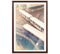 "Curves Framed Print By Tracey Capone, 28x42"", Ridged Distressed Frame, Espresso, Mat"