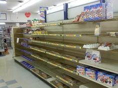 Empty Bread shelves at the Grocery store at any mention of the word snow in Alabama!