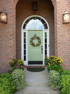 "Front Door Color Idea from DIY user ""Luv2bflyin"" with dark stain?"