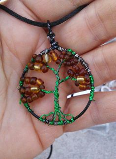 Green, Brown and Black Tree of Life Black Corded Necklace