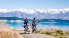 Cycling at Lake Pukaki, near our tallest mountain, Aoraki Mt Cook