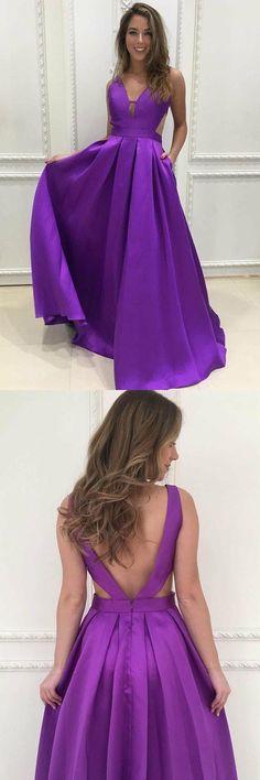 Simple V-Neck Sweep Train Grape Satin Prom Dresses Evening Dresses