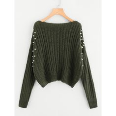SheIn(sheinside) Pearl Embellishing Mixed Knit Jumper (58 PLN) via Polyvore featuring tops, sweaters, army green, long sleeve jumper, knit jumper, olive green sweater, knit sweater i over sized sweaters