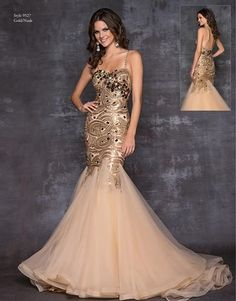A very glamorous gold/nude evening dress by Blush Prom
