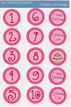 Folie du Jour Bottle Cap Images: Happy Birthday girl free bottle cap images