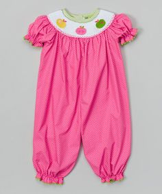 This Hot Pink Gingham Apple Smocked Playsuit - Infant & Toddler by Stellybelly is perfect! #zulilyfinds