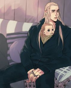 Thranduil and baby Legolas Modern AU - keeping warm with Ada