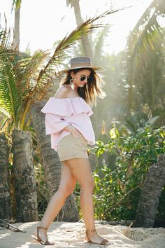 READY FOR THE BEACH - Lovely Pepa by Alexandra. Red and white striped off the shoulder blouse+beige shorts+brown ankle strap flat sandals+straw hat+jewelry+sunglasses. Summer Vacation Casual Outfit 2017