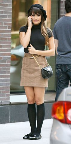 Actress Lea Michele was preppy chic in the Milly Amy Barrel Chain Skirt when she and actor Dean Geyer were shooting scenes for Season 4 of the popular show 'Glee' in New York.