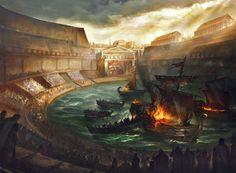 La Naumaquia, el espectáculo mas colosal en la antigua Roma, estos costosísimos espectáculos quedan documentados por primera vez con Julio César en el año 46 a. C. tras haber hecho construir una piscina cerca del Tíber y después por Augusto en el Campo de Marte, e incluso Claudio en el año 52 d. C., en el lago Fucino.