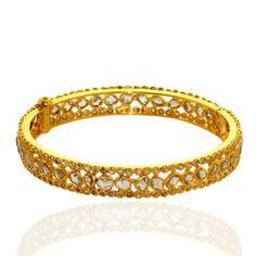 6.16 ct Rose Cut Diamond Eternity Bangle 18k Yellow Gold Real Bracelet