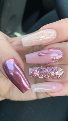 44 Best Coffin Nail & Gel Nail Designs for Summer 2019 Page 4 of 43 Nagelpflege Gorgeous Nails, Pretty Nails, Amazing Nails, Cute Summer Nails, Nail Summer, Gel Nagel Design, Rose Gold Nails, Pink Glitter Nails, Blue Nails
