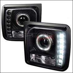1997-2001 Jeep Cherokee Spec D Halo LED Projector Headlights - Black