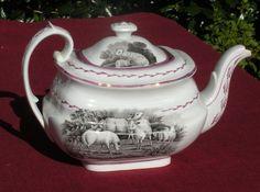 English Black Transferware Pink Lustreware Staffordshire  1820 -1830 rare #blacktransferware #staffordshire