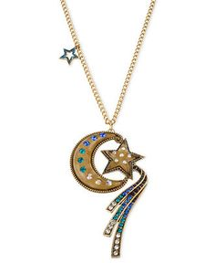 - I love this necklace! - Betsey Johnson Moon And Star Necklace - - Cute Jewelry, Jewelry Art, Fashion Jewelry, Jewelry Design, Jewellery, Jewelry Ideas, Antique Gold, Antique Jewelry, Anklet Tattoos