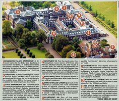 Kensington Palace has a large number of apartments for use by members of the Royal Family and staff