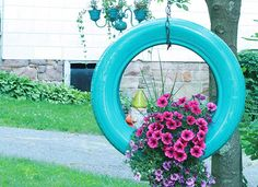 hanging tire planter - Google Search
