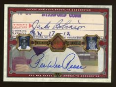 2006 SP Legendary Cuts Jackie Robinson Reese Gil Hodges Durocher AUTO UDA 1/1