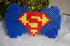 Superman 8 Bit Hair Bow by FantasticalFancies on Etsy, $12.80