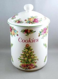 Royal Albert Old Country Roses Cookie Jar Holiday Classic Christmas 1998
