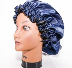 Large, NAVY BLUE 22' Reversible Luxuries Pure Satin Hair Bonnet for Women, Men, Kids and Teens Used for Dry, Damaged, Colored Safe For All Hair Types - Anti Aging Hair Care * You can get additional details at the image link.