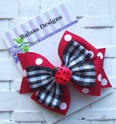 Boutique Ladybug Layered Hair Bow