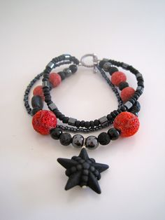 Volcanic bracelet - made from volcanic rock beads from Pompeii and Santorini.