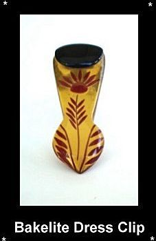 UNUSUAL VINTAGE REVERSE CARVED PAINTED ART DECO BAKELITE DRESS CLIP BLACK RED APPLE JUICE