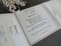 Tri-fold Pocket Invitation in blush - RSVP, Reception and Information Card Included on Etsy, 53,76kr