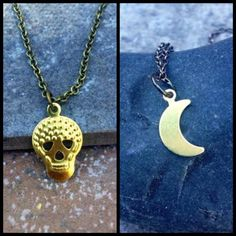 The CRESCENT MOON & SKULL Necklace Duo //  Flash by ShopParadigm, $20.00