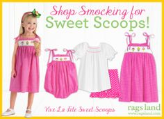 Our Vive La Fete Sweet Scoops Smocked Collection! Shop NOW at www.ragsland.com & follow Ragsland on Instagram!