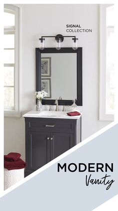 The sleek, modern three-light Signal collection vanity fixture in matte black makes a simple addition to your bathroom interior design. #modernvanity #vanitylights #vanity #bathroomvanity #modernlighting #modernlights #threelight #graphite #graphitedecor #blackfinish #lightfixture #simpledecor #bathroomlighting #bathroomlights #bathroomdesignideas #bathroomdesigns #modernbathroomdecor #modernbathroom #lighting #lightfixtures #simplelights #interiordesignideas #lightingdesign…