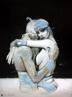 """Bleu sang"" illustration by Enki Bilal - 1994 Art And Illustration, Illustrations, Comic Book Artists, Comic Artist, Fantasy Kunst, Fantasy Art, Enki Bilal Bd, Cyberpunk Kunst, Tv Movie"