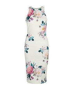 White Scuba Floral Print Bodycon Dress  | New Look
