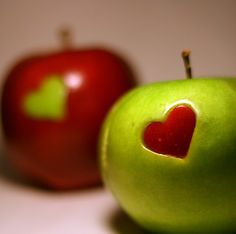 Valentine apple, also great with other shaped (made with small cookie cutters).
