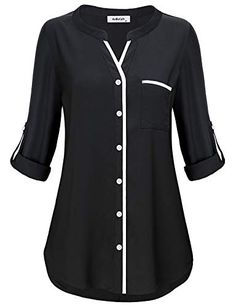Henley Tunic Shirts for Women to Wear with Sleeve Simple Style Casual V Neck Button Down Plain Tops Fitted Tshirt Knit Basic Jersey Lady Modern Peplum Blouse Prime Club Wear Black MBestseller AxByCzD Damen Manschette Henley V-Ausschnitt Chiffon Tunik Tunic Blouse, Shirt Blouses, Tunic Tops, Shirts, Kurta Designs, Blouse Designs, Blouse Styles, Chiffon Tops, Fashion Outfits